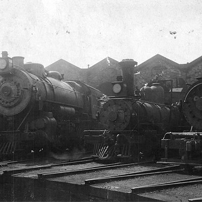 Trains at the Roundhouse Turntable Circa 1890.