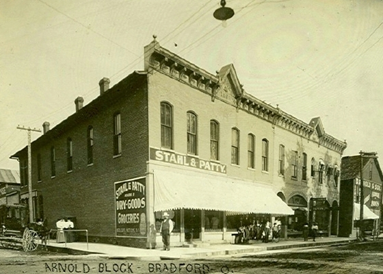 The Iddings Block and the Arnold & Sons Lumber Company at Miami Street and Main Street in Bradford, Ohio. Totally destroyed in 1920 by the Bradford Fire.
